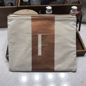 "NWT Cosmetic Bag with letter ""F"""